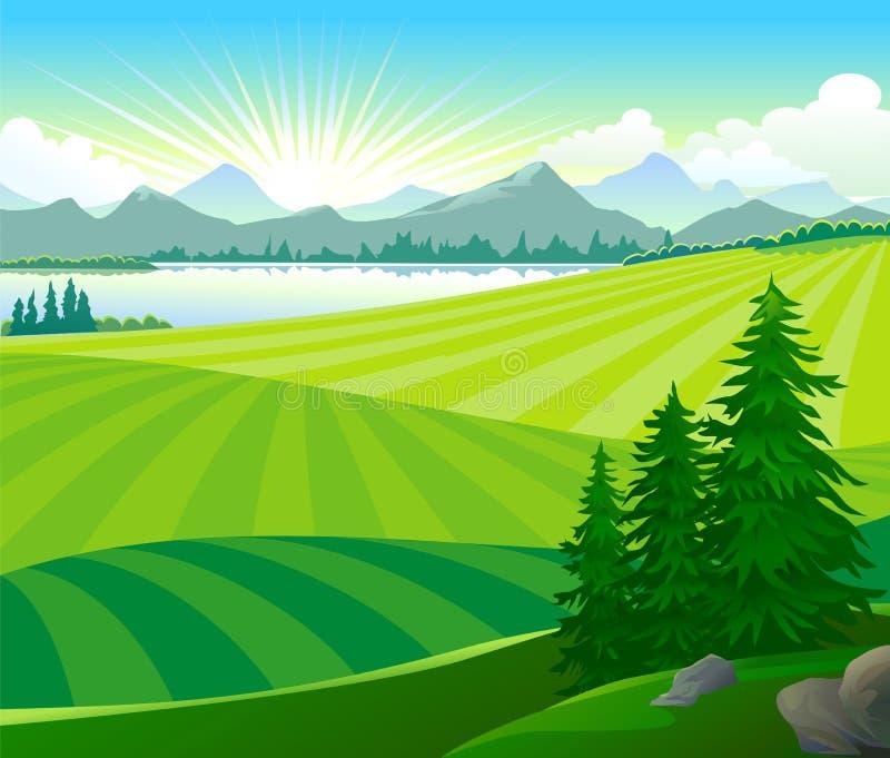 πράσινη ανατολή λόφων απεικόνιση αποθεμάτων