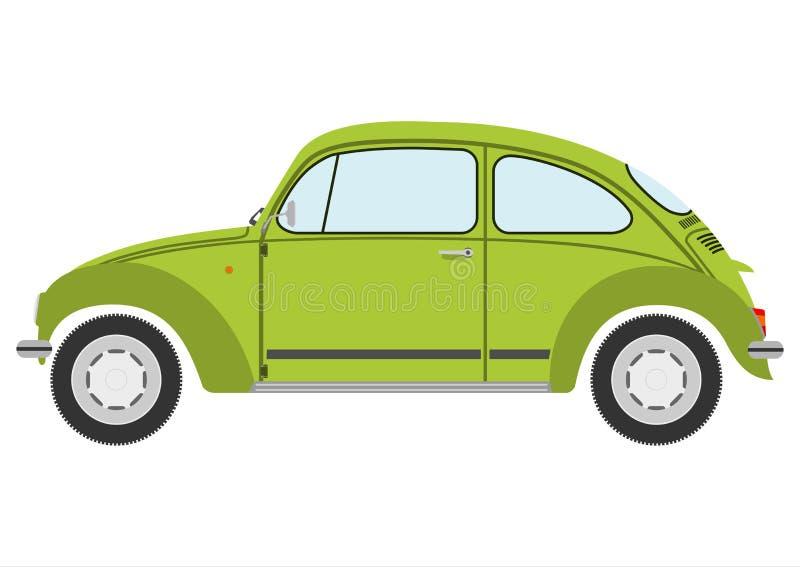 Πράσινη αναδρομική σκιαγραφία αυτοκινήτων. διανυσματική απεικόνιση