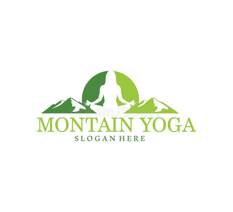 πράσινη απεικόνιση σχεδίου λογότυπων συμβόλων ισορροπίας περισυλλογής θέματος γιόγκας βουνών ελεύθερη απεικόνιση δικαιώματος