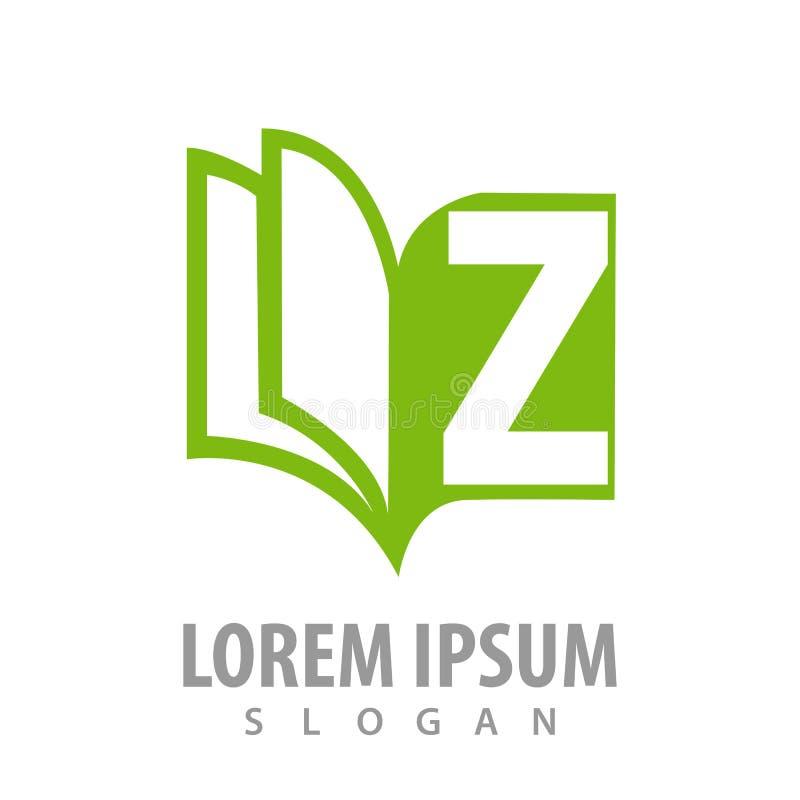Πράσινη βίβλος με το σχέδιο έννοιας λογότυπων γραμμάτων Ζ r διανυσματική απεικόνιση