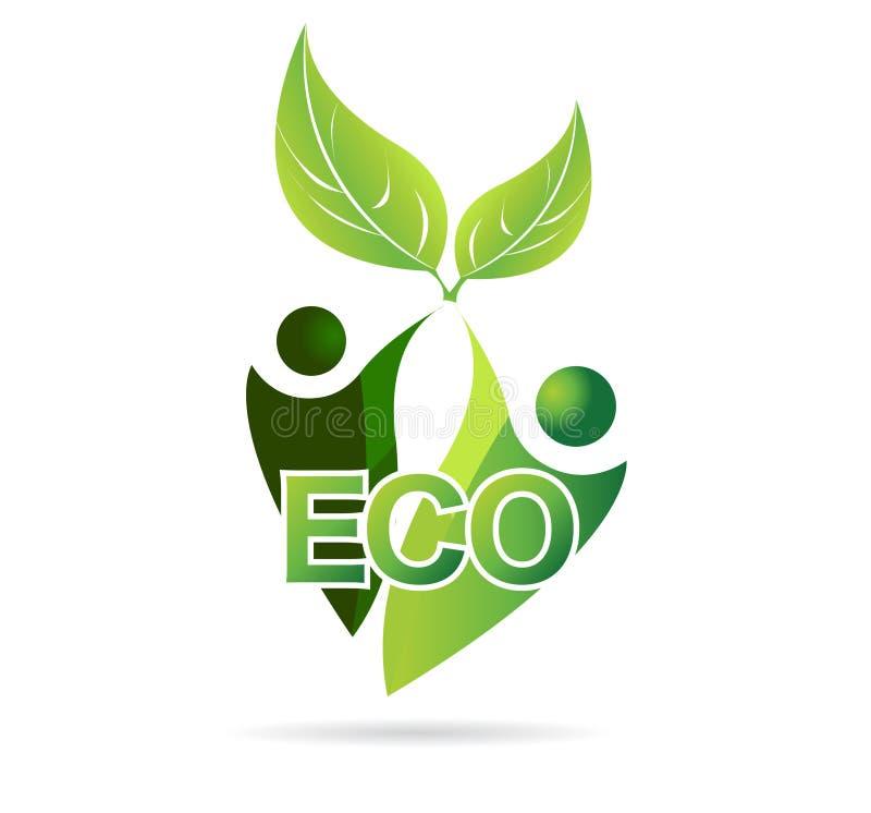 Πράσινη γη και το περιβάλλον, μητέρα φύση, διάνυσμα εικονιδίων eco ελεύθερη απεικόνιση δικαιώματος