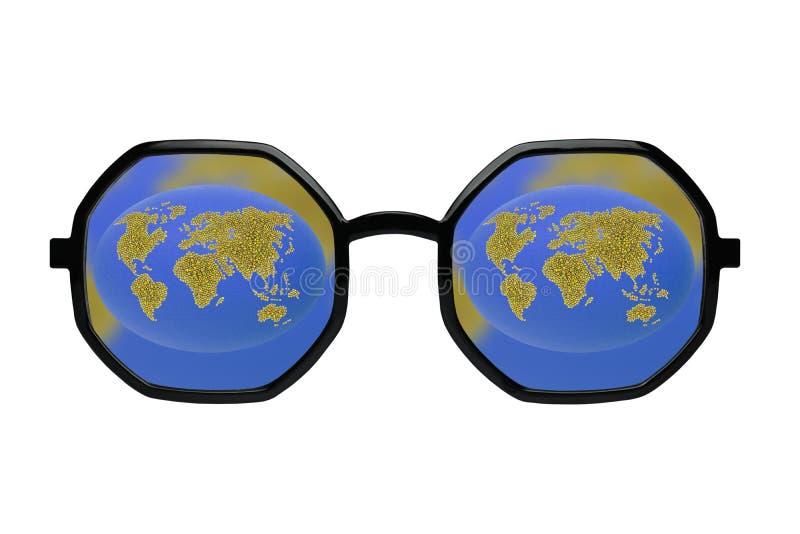 Πράσινη γη στα μαύρα γυαλιά στοκ εικόνες