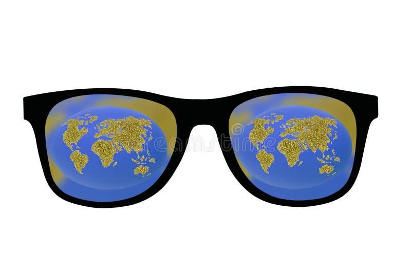 Πράσινη γη στα μαύρα γυαλιά στοκ φωτογραφίες
