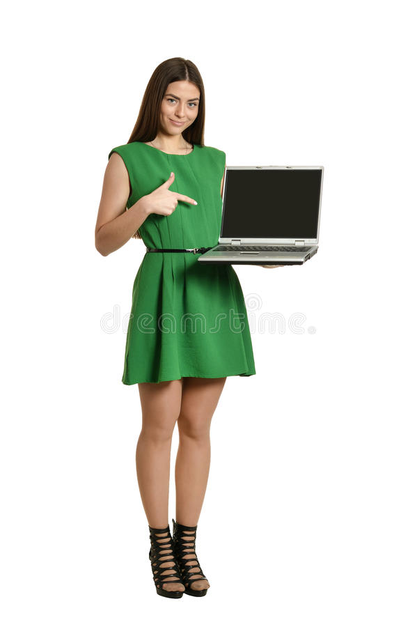 πράσινη γυναίκα φορεμάτων στοκ φωτογραφία