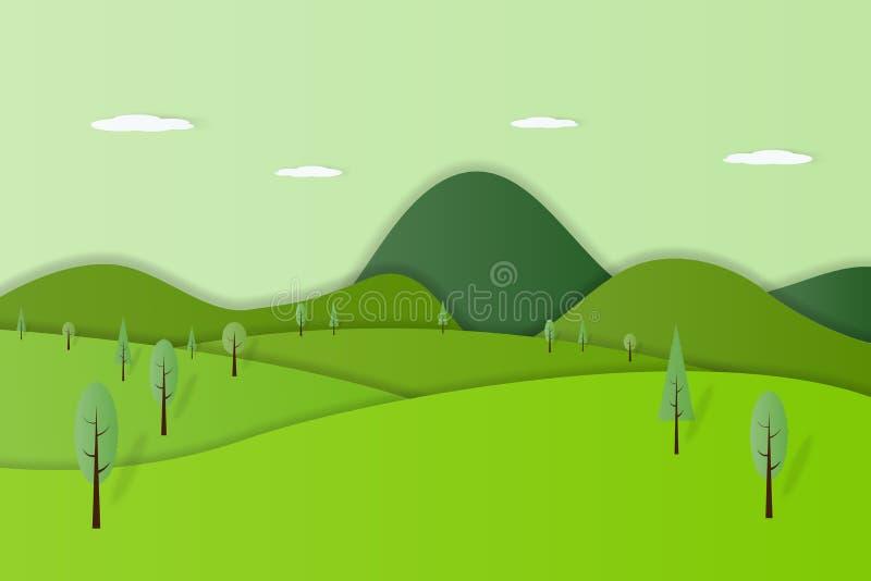 Πράσινη διανυσματική απεικόνιση ύφους τέχνης εγγράφου υποβάθρου τοπίων φύσης δασική διανυσματική απεικόνιση
