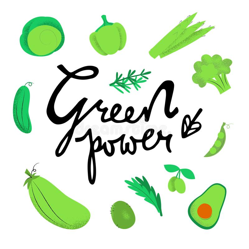 Πράσινη διανυσματική περιγραμματική απεικόνιση δύναμης ελεύθερη απεικόνιση δικαιώματος
