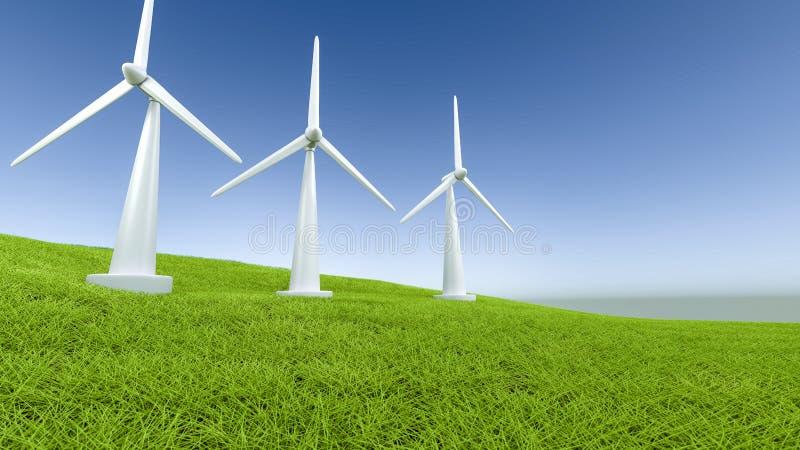 Πράσινη ενέργεια έννοιας ανεμόμυλων απεικόνιση αποθεμάτων