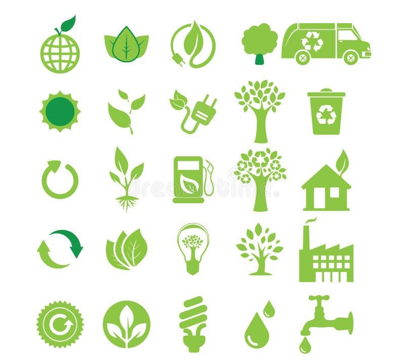 Πράσινη ενέργεια, σύνολο εικονιδίων διανυσματική απεικόνιση
