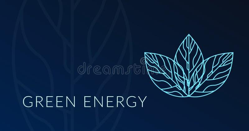 Πράσινη ενεργειακή αφίσα με το ολόγραμμα φύλλων logotype διανυσματική απεικόνιση