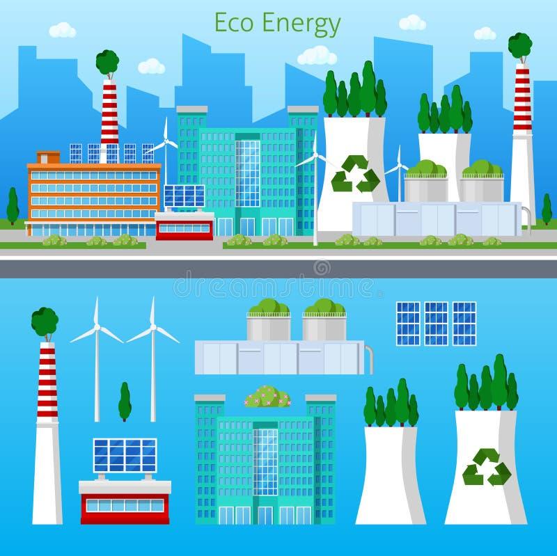 Πράσινη ενεργειακή εικονική παράσταση πόλης εργοστασίων Eco με την ηλιακή μπαταρία διανυσματική απεικόνιση