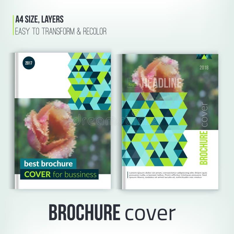 Πράσινη επιχειρησιακή ετήσια έκθεση τριγώνων με τη φωτογραφία τουλιπών Διάνυσμα προτύπων σχεδίου ιπτάμενων φυλλάδιων Κάλυψη φυλλά διανυσματική απεικόνιση