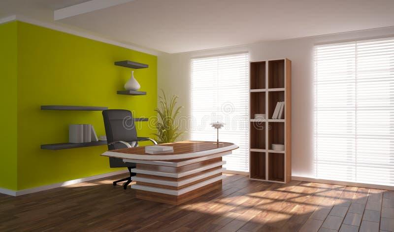 Πράσινη εσωτερική έννοια για το χώρο εργασίας διανυσματική απεικόνιση