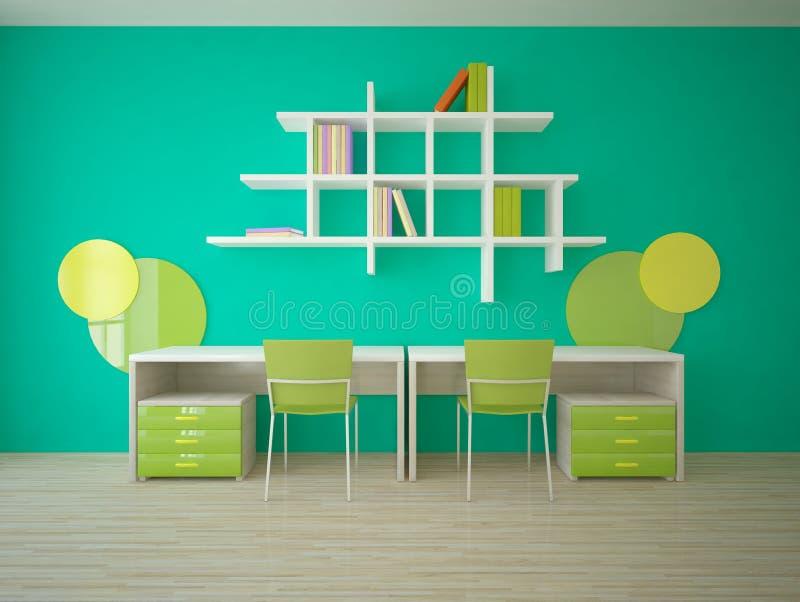 Πράσινη εσωτερική έννοια για το δωμάτιο παιδιών απεικόνιση αποθεμάτων
