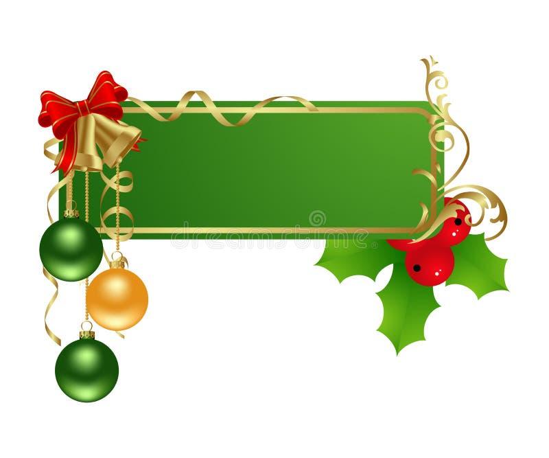 πράσινη ετικέτα Χριστουγέ&n διανυσματική απεικόνιση