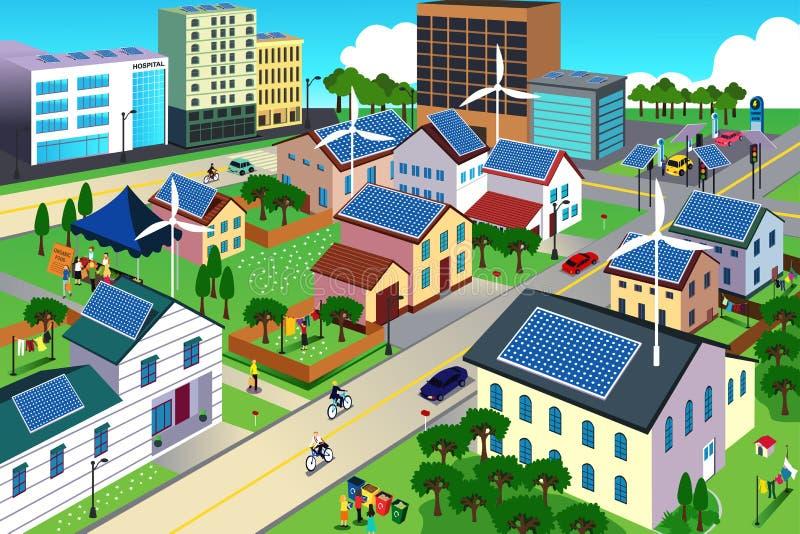 Πράσινη ευνοϊκή για το περιβάλλον σκηνή πόλεων διανυσματική απεικόνιση