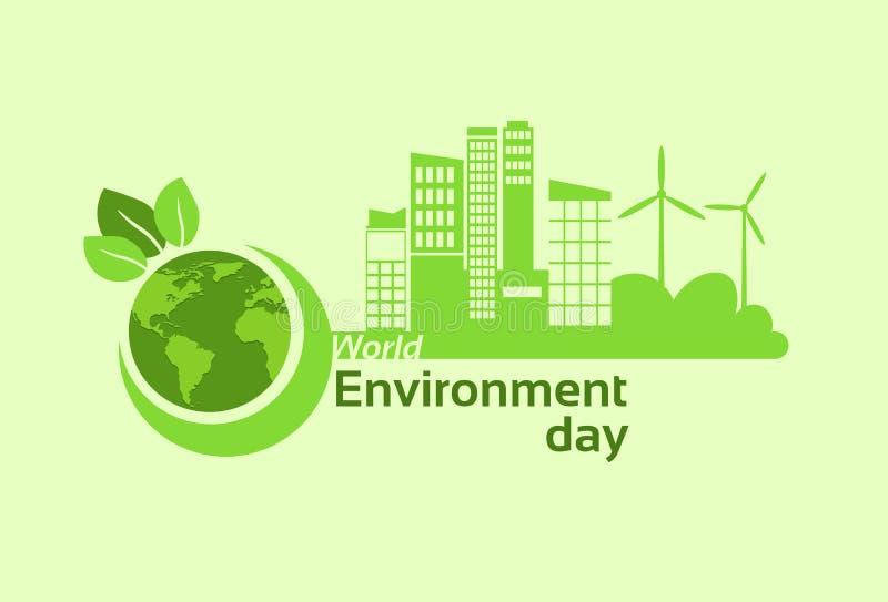 Πράσινη ημέρα παγκόσμιου περιβάλλοντος επιτροπής ηλιακής ενέργειας ανεμοστροβίλων σκιαγραφιών σφαιρών γήινων πλανητών πόλεων απεικόνιση αποθεμάτων
