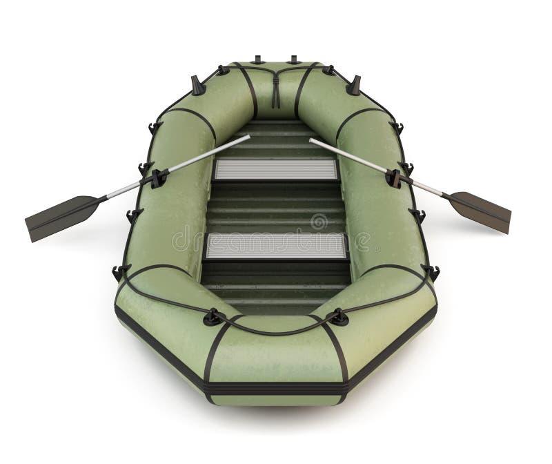 Πράσινη διογκώσιμη λαστιχένια βάρκα διανυσματική απεικόνιση