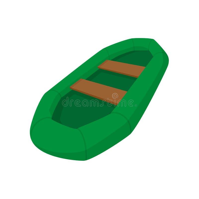 Πράσινη διογκώσιμη βάρκα με το εικονίδιο κινούμενων σχεδίων κουπιών απεικόνιση αποθεμάτων