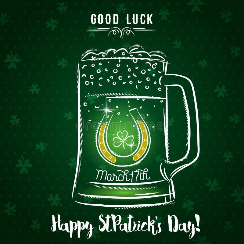 Πράσινη κάρτα για την ημέρα του ST Πάτρικ ` s με την κούπα, το πέταλο και το s μπύρας ελεύθερη απεικόνιση δικαιώματος