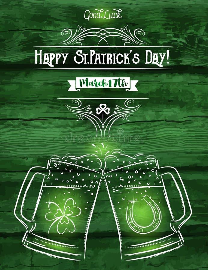 Πράσινη κάρτα για την ημέρα του ST Πάτρικ ` s με την κούπα δύο μπύρας, πέταλο απεικόνιση αποθεμάτων