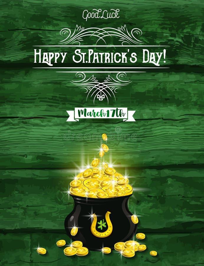 Πράσινη κάρτα για την ημέρα του ST Πάτρικ ` s με το δοχείο και τα χρυσά νομίσματα, hor διανυσματική απεικόνιση