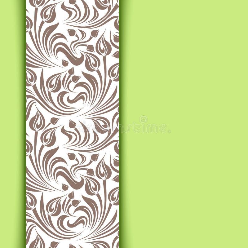 Πράσινη κάρτα με το floral σχέδιο. ελεύθερη απεικόνιση δικαιώματος