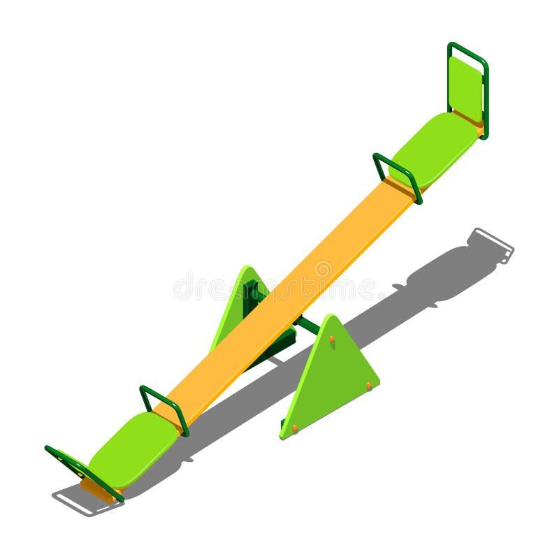 Πράσινη και κίτρινη ταλάντευση - balancer για τα παιδιά, για να κάνει πατινάζ μαζί, isometric διανυσματική απεικόνιση στο άσπρο υ ελεύθερη απεικόνιση δικαιώματος