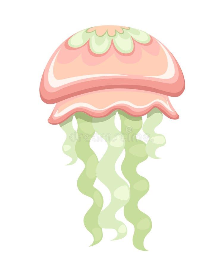 Πράσινη και κόκκινη μέδουσα θάλασσας Τροπικό υποβρύχιο ζώο Medusa υδρόβιος οργανισμός, σχέδιο ύφους κινούμενων σχεδίων Επίπεδη απ διανυσματική απεικόνιση