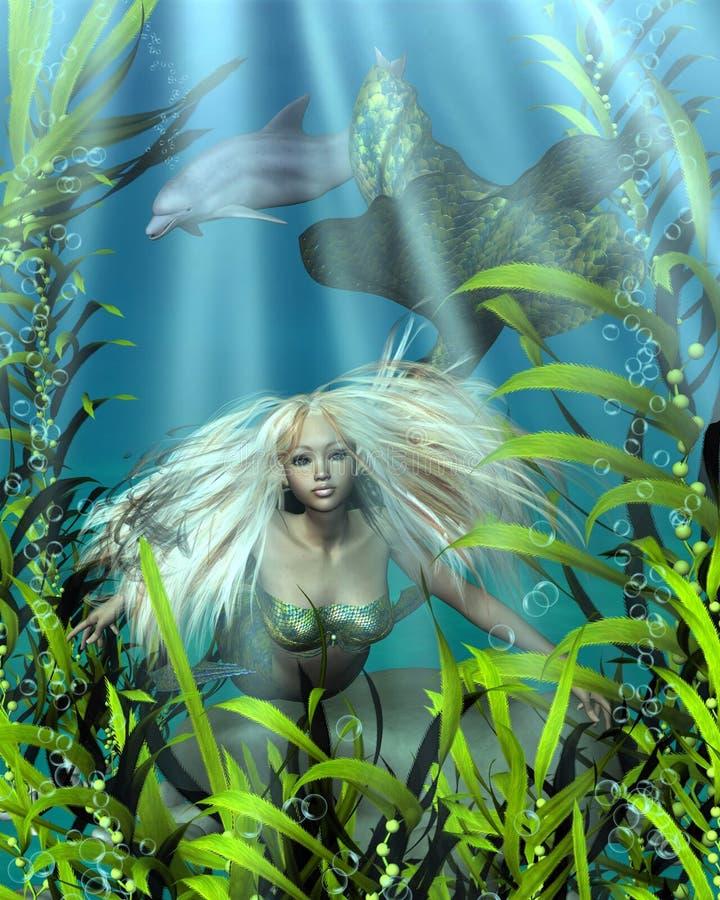 Πράσινη και μπλε γοργόνα που κοιτάζει αδιάκριτα μέσω του φυκιού διανυσματική απεικόνιση