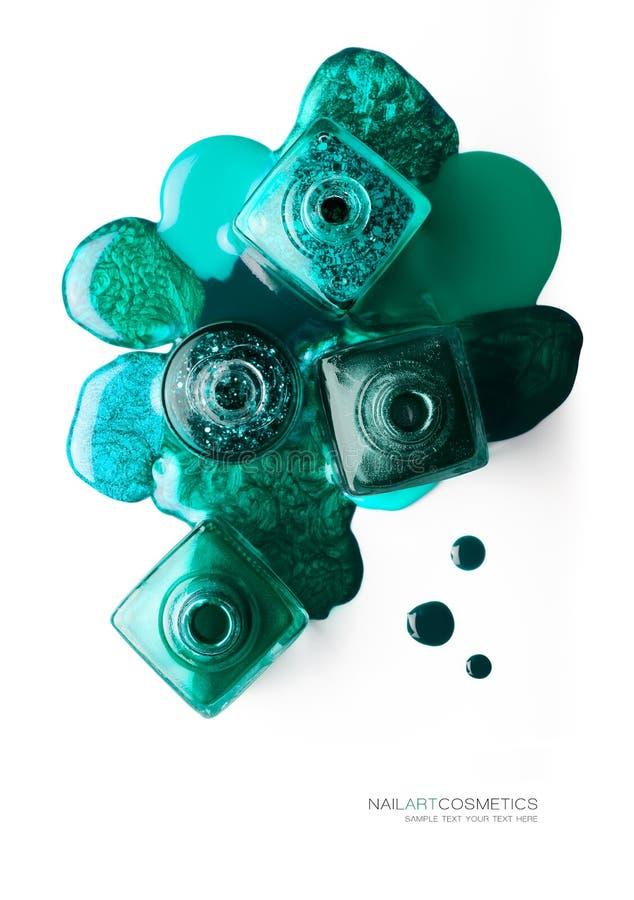 Πράσινη και σμαραγδένια έννοια καλλυντικών τέχνης καρφιών στοκ εικόνα με δικαίωμα ελεύθερης χρήσης