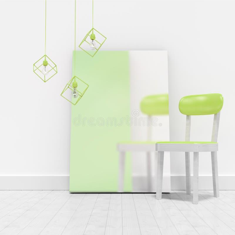Πράσινη καρέκλα από το κενό whiteboard ενάντια στον τοίχο διανυσματική απεικόνιση