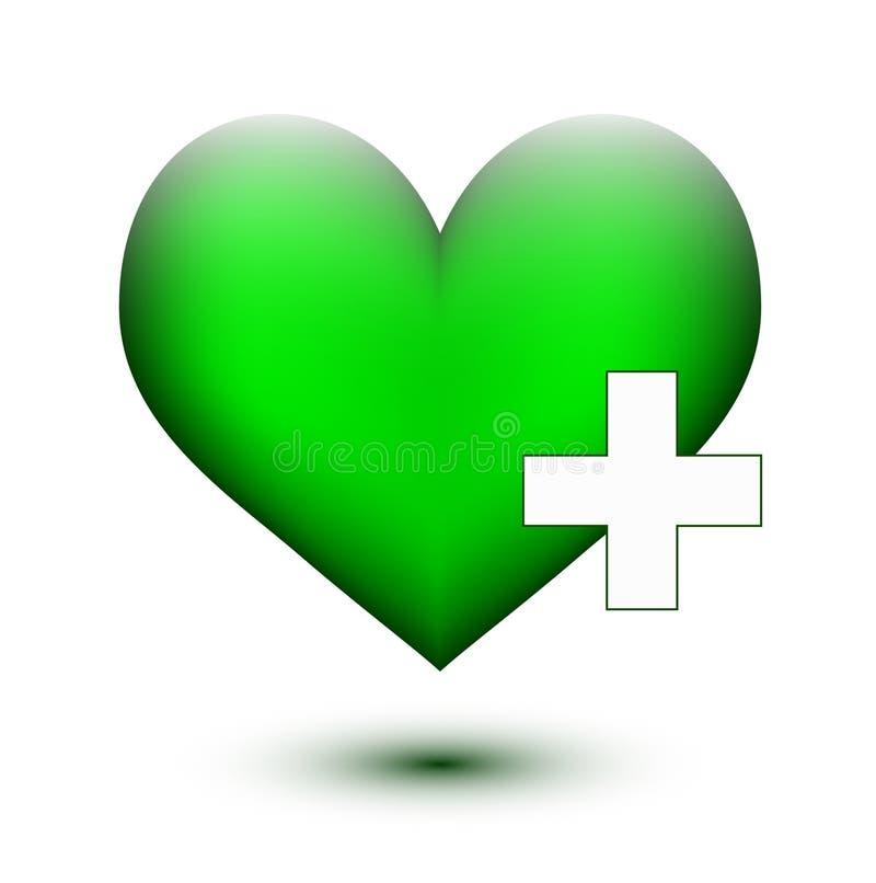 Πράσινη καρδιά με το λευκό συν απεικόνιση αποθεμάτων