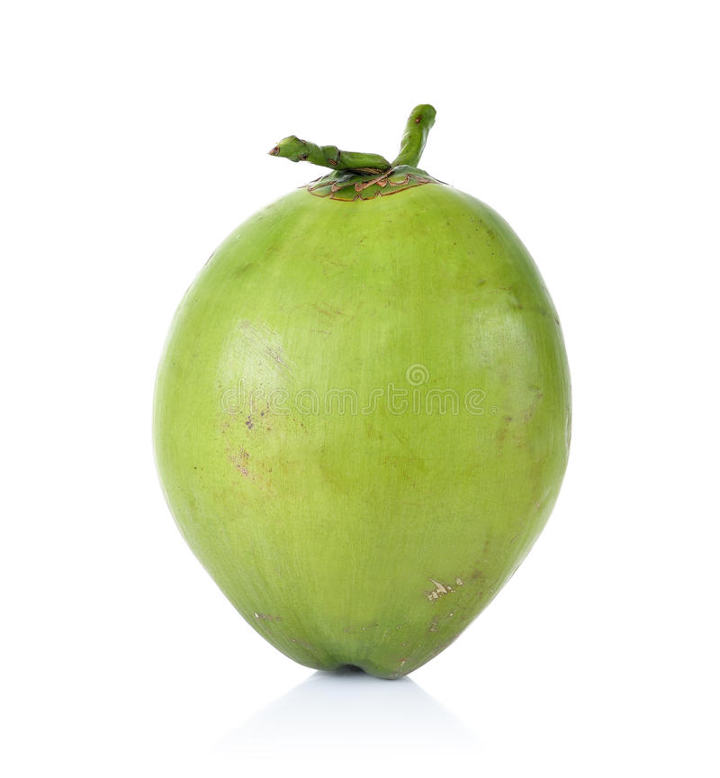 Πράσινη καρύδα που απομονώνεται στο άσπρο υπόβαθρο στοκ φωτογραφία