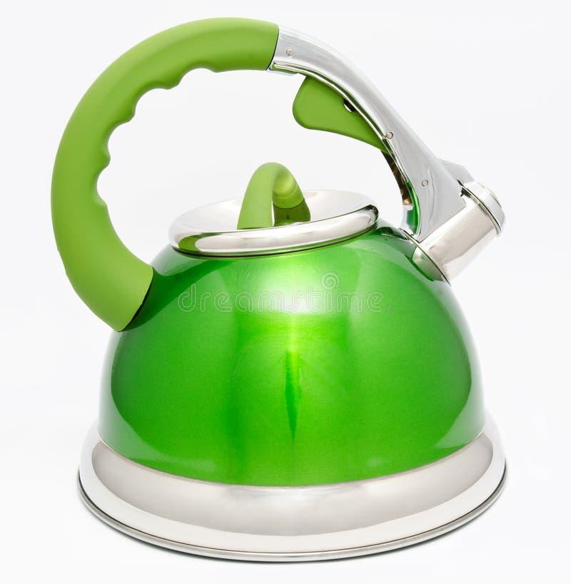 Πράσινη κατσαρόλα τσαγιού που απομονώνεται στο λευκό στοκ φωτογραφίες με δικαίωμα ελεύθερης χρήσης