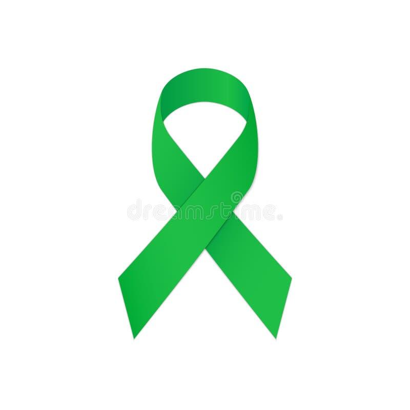 Πράσινη κορδέλλα σε ένα άσπρο υπόβαθρο, ως πνευματικές υγείες συμβόλων διανυσματική απεικόνιση
