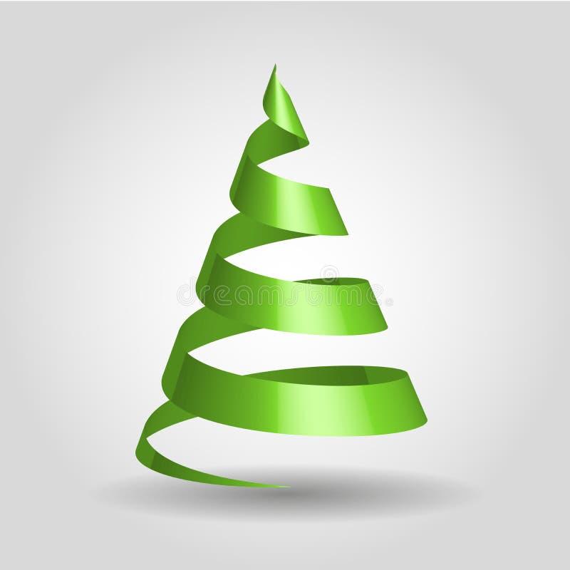 Πράσινη κορδέλλα σε μια μορφή του χριστουγεννιάτικου δέντρου ελεύθερη απεικόνιση δικαιώματος