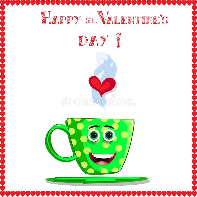 Πράσινη κούπα καφέ με το πρόσωπο, τα μάτια και την καρδιά χαμόγελου στον ατμό διανυσματική απεικόνιση