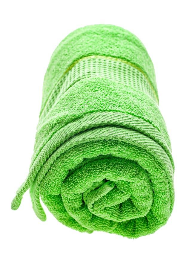 Πράσινη κυλημένη πετσέτα στοκ φωτογραφίες