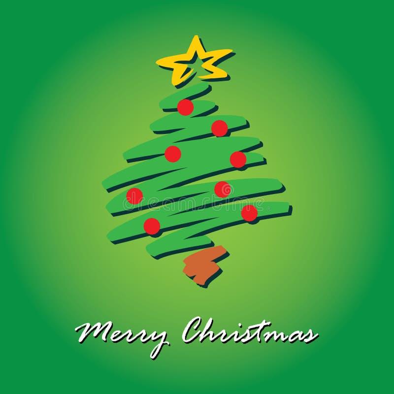 Πράσινη κόκκινη ευχετήρια κάρτα δέντρων Χαρούμενα Χριστούγεννας στοκ εικόνες
