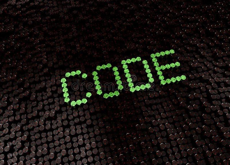 Πράσινη λέξη κώδικα με το ψηφιακό υπόβαθρο στοκ εικόνες