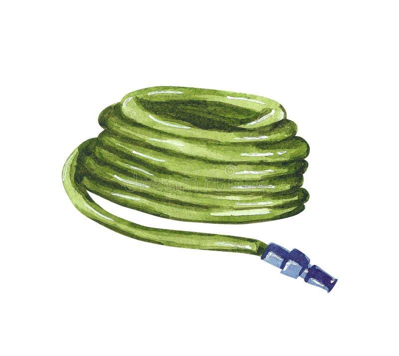 Πράσινη μάνικα κήπων ποτίσματος, συρμένη χέρι απεικόνιση watercolor ελεύθερη απεικόνιση δικαιώματος