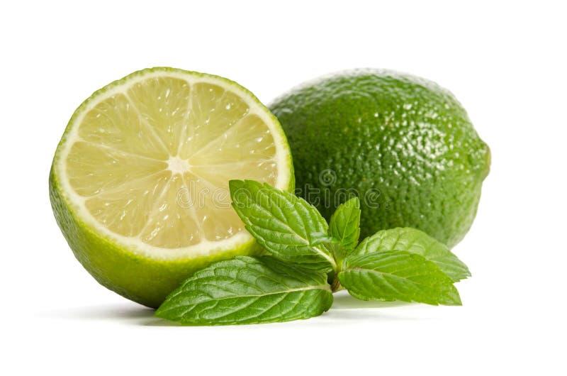 Πράσινη μέντα, ασβέστης με το μισό από έναν juicy ασβέστη στοκ εικόνα