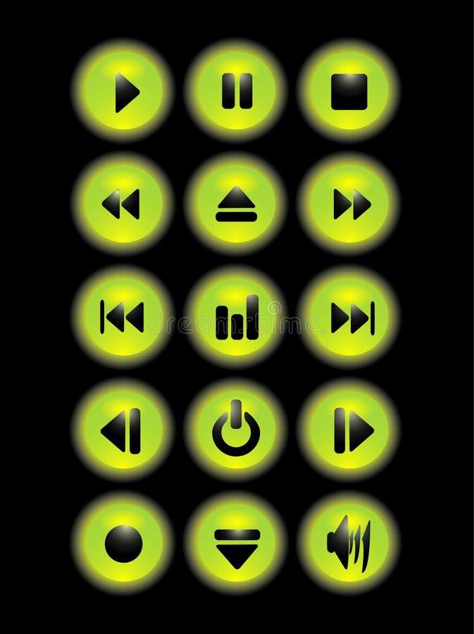 πράσινη μουσική κουμπιών απεικόνιση αποθεμάτων