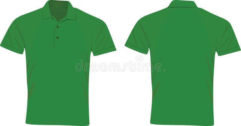 Πράσινη μπροστινή και πίσω άποψη μπλουζών πόλο διανυσματική απεικόνιση