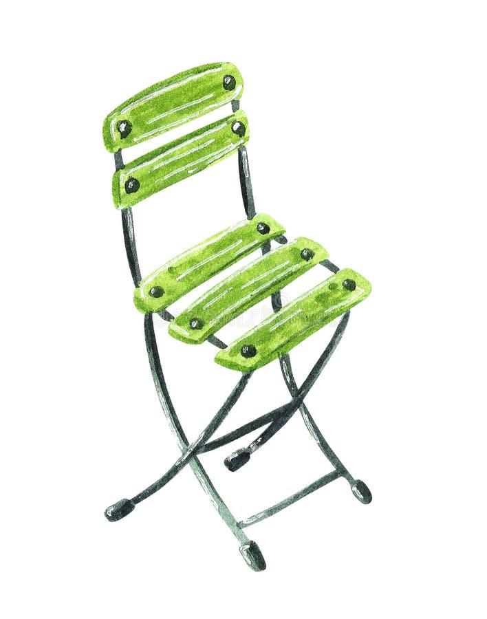 Πράσινη ξύλινη καρέκλα κήπων, συρμένη χέρι απεικόνιση watercolor ελεύθερη απεικόνιση δικαιώματος
