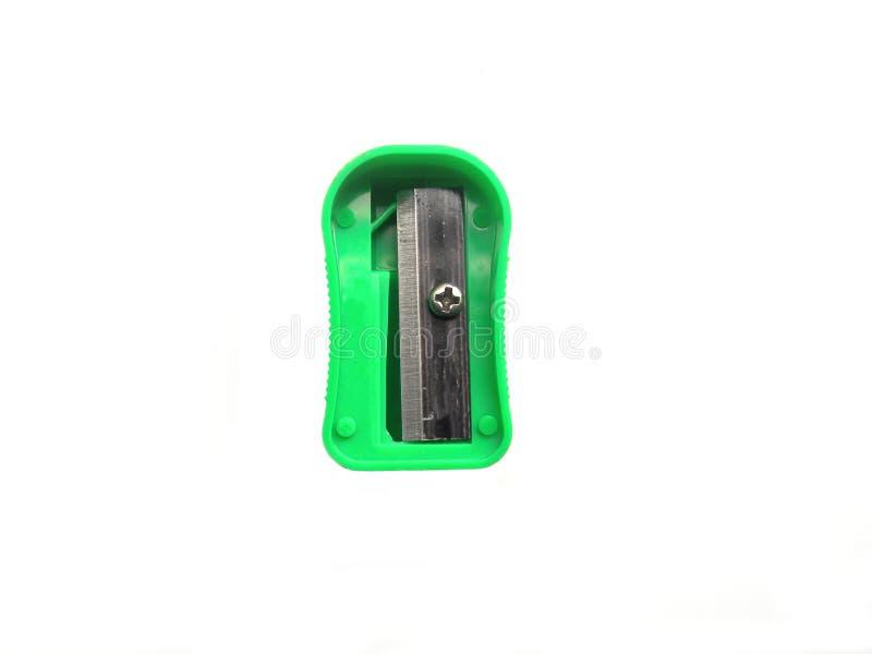 Πράσινη ξύστρα για μολύβια στο άσπρο υπόβαθρο στοκ εικόνες με δικαίωμα ελεύθερης χρήσης