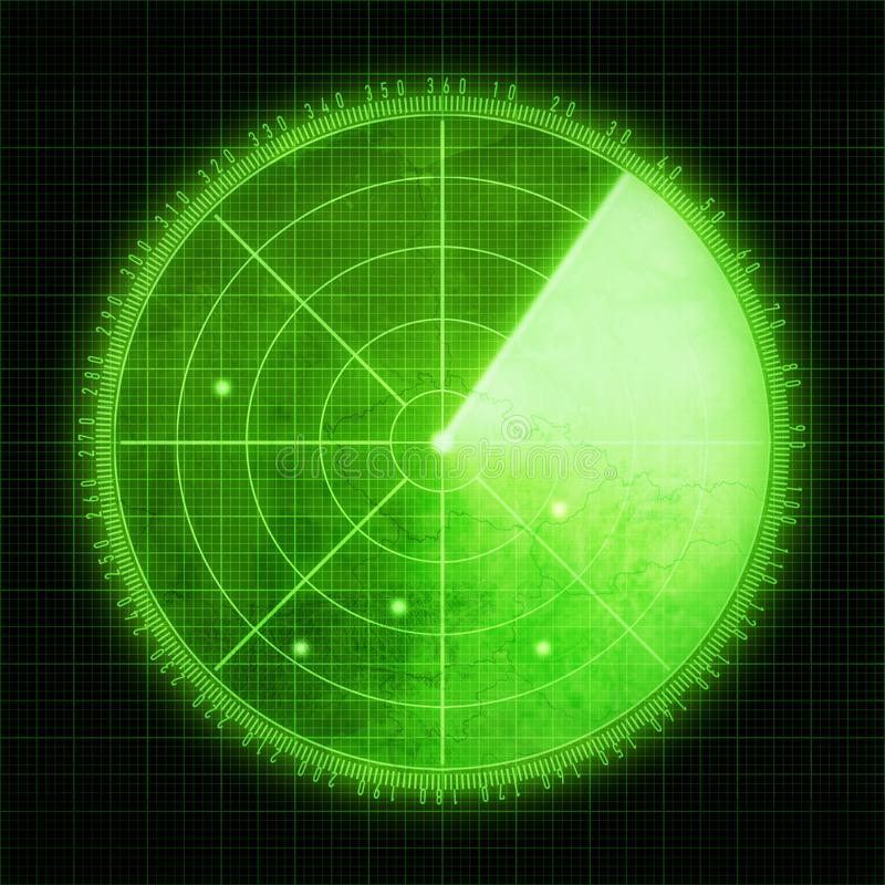 Πράσινη οθόνη ραντάρ με τους στόχους ελεύθερη απεικόνιση δικαιώματος