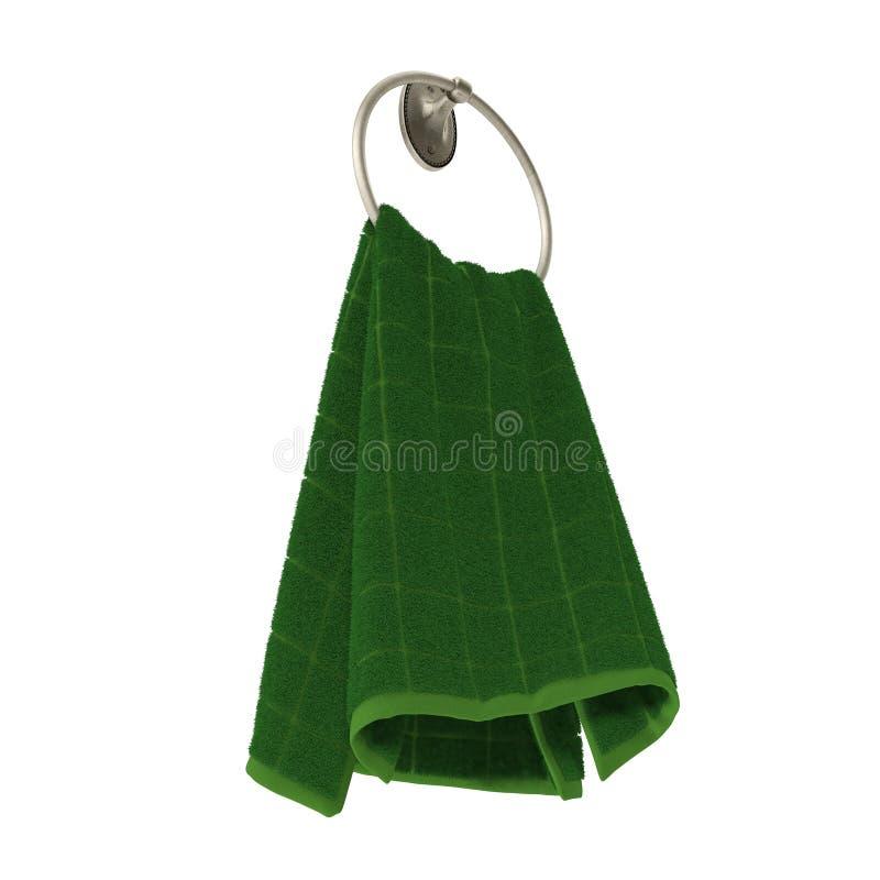 Πράσινη πετσέτα χεριών στη μεταλλική κρεμάστρα στο λευκό τρισδιάστατη απεικόνιση ελεύθερη απεικόνιση δικαιώματος