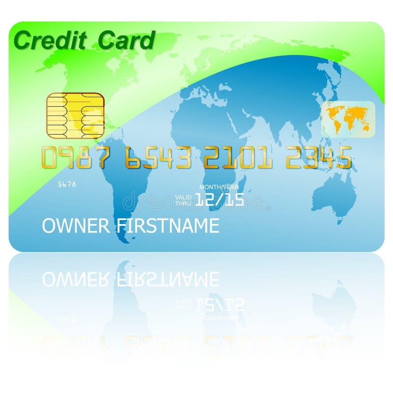 Πράσινη πιστωτική κάρτα με τη σκιά πέρα από το υπόβαθρο wite διανυσματική απεικόνιση