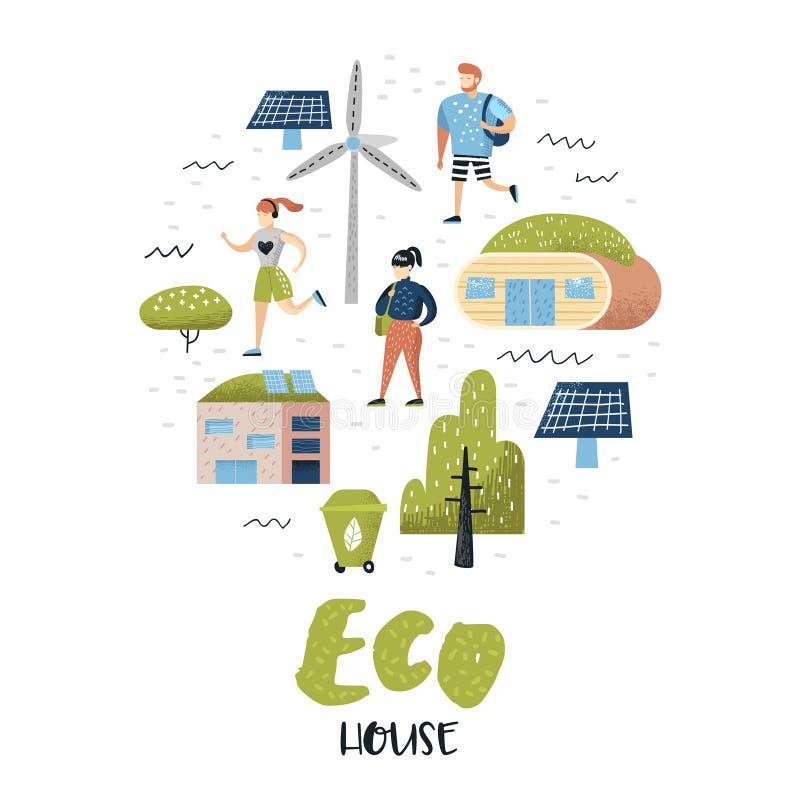 Πράσινη πόλης έννοια Περιβαλλοντική συντήρηση Τεχνολογίες σπιτιών Eco για τη συντήρηση του πλανήτη εναλλακτική ενέργεια απεικόνιση αποθεμάτων
